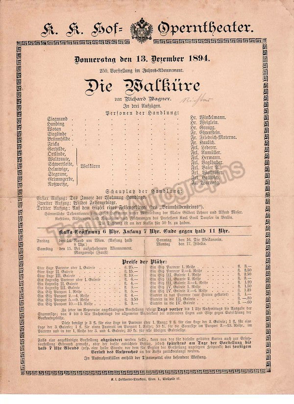 Imperial & Royal Court Opera, Vienna - Playbills 1894-1897 - Tamino Autographs  - 6