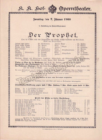 Imperial & Royal Court Opera, Vienna - Playbills 1900-1901 - Tamino Autographs  - 1
