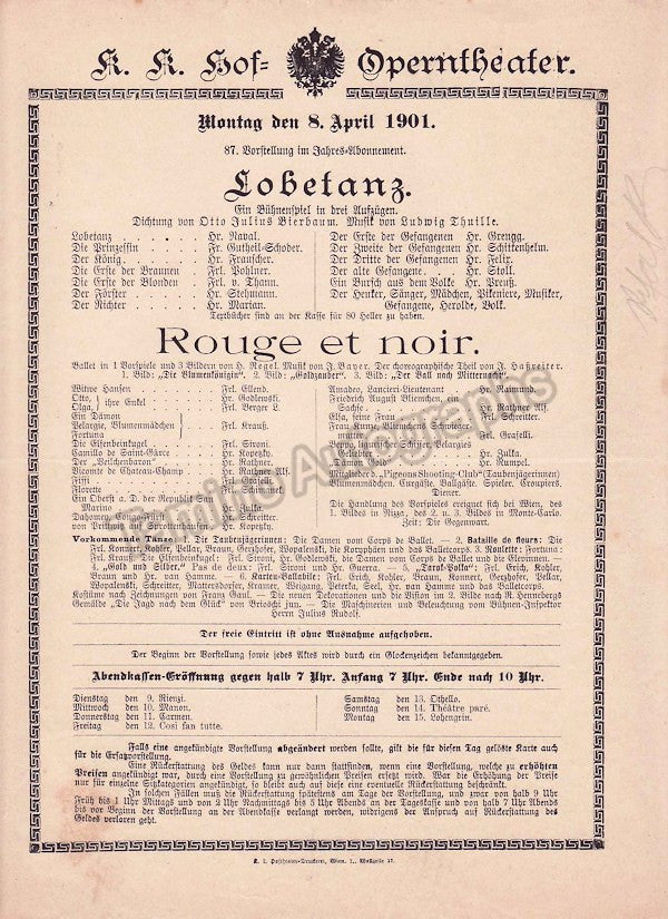 Imperial & Royal Court Opera, Vienna - 6 Playbill Lot 1900-1901