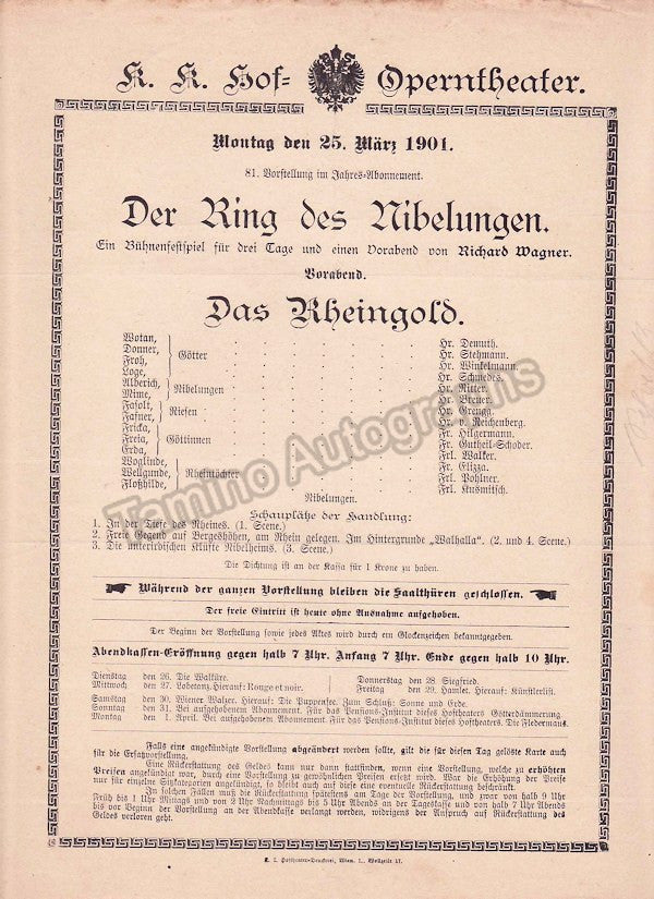 Imperial & Royal Court Opera, Vienna - Playbills 1900-1901 - Tamino Autographs  - 4