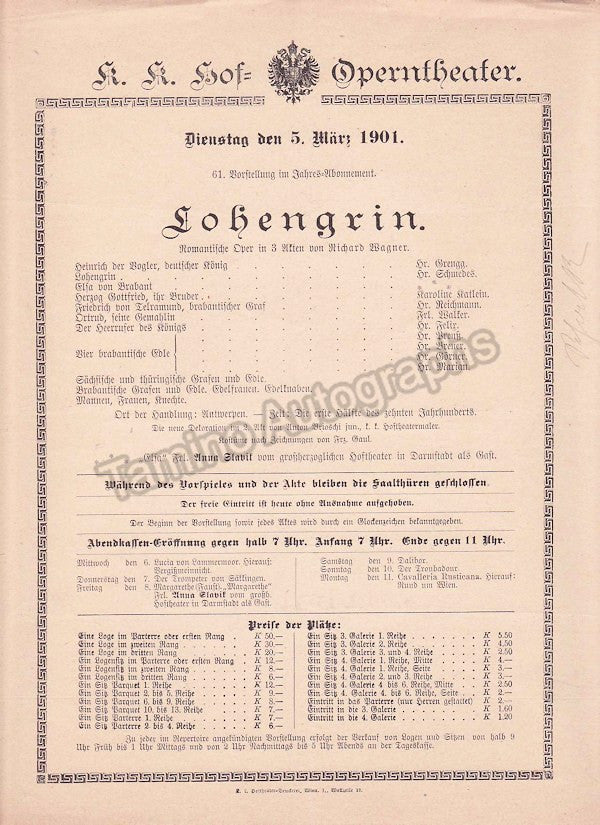 Imperial & Royal Court Opera, Vienna - Playbills 1900-1901 - Tamino Autographs  - 6
