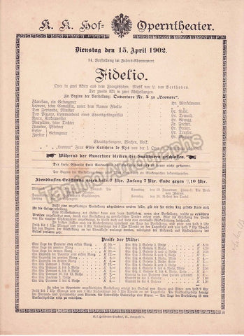 Imperial & Royal Court Opera, Vienna - Playbills 1902 - Tamino Autographs  - 1