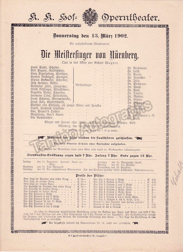 Imperial & Royal Court Opera, Vienna - Playbills 1902 - Tamino Autographs  - 2
