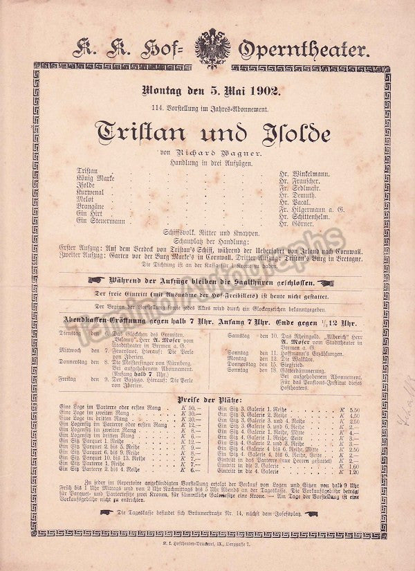 Imperial & Royal Court Opera, Vienna - Playbills 1902 - Tamino Autographs  - 3