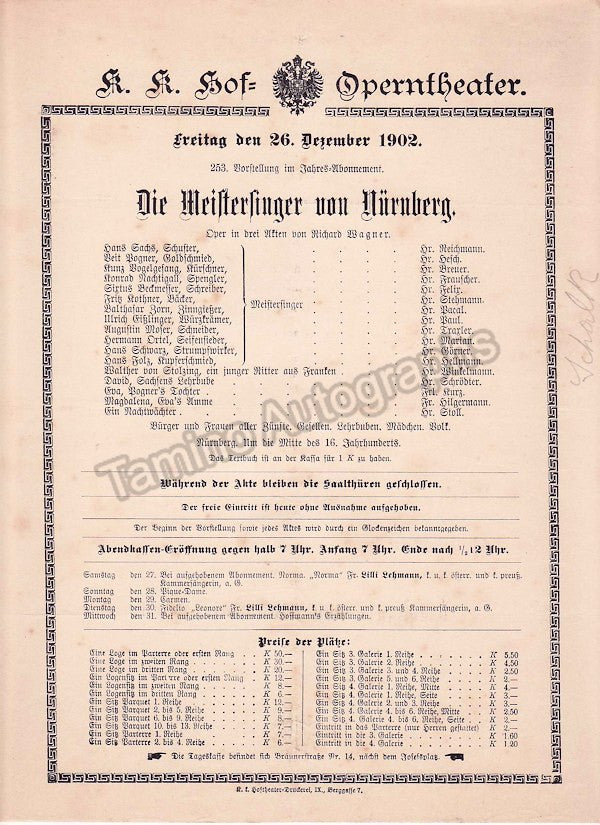 Imperial & Royal Court Opera, Vienna - Playbills 1902 - Tamino Autographs  - 4
