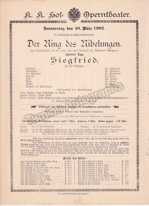 Imperial & Royal Court Opera, Vienna - Playbills 1902 - Tamino Autographs  - 5