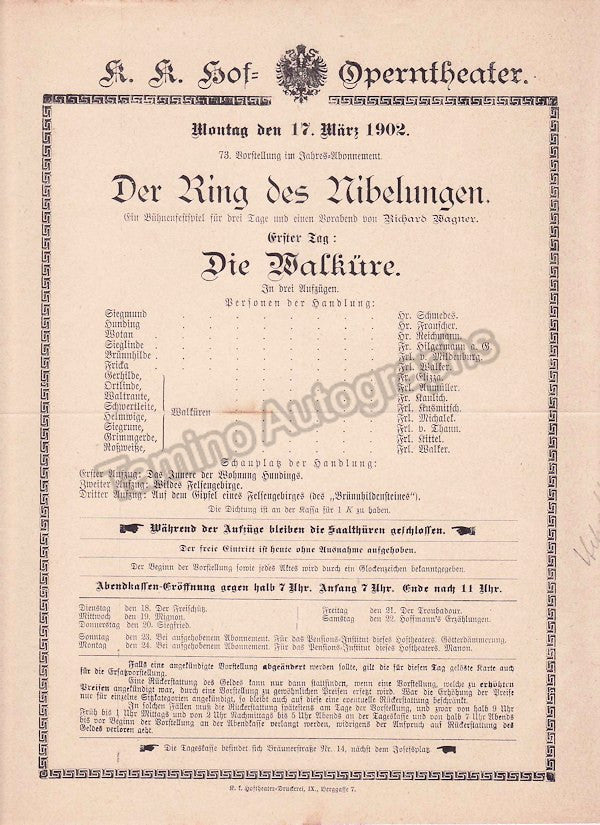 Imperial & Royal Court Opera, Vienna - Playbills 1902 - Tamino Autographs  - 6