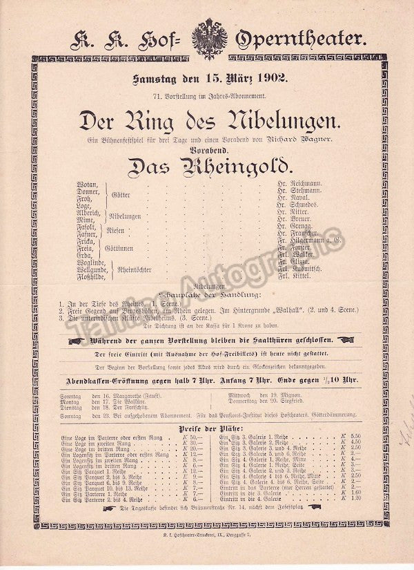 Imperial & Royal Court Opera, Vienna - Playbills 1902 - Tamino Autographs  - 7