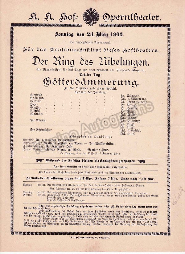 Imperial & Royal Court Opera, Vienna - Playbills 1902 - Tamino Autographs  - 8