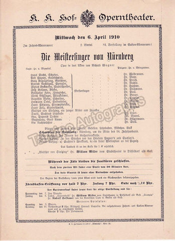Imperial & Royal Court Opera, Vienna - Playbills 1910-1912 - Tamino Autographs  - 1