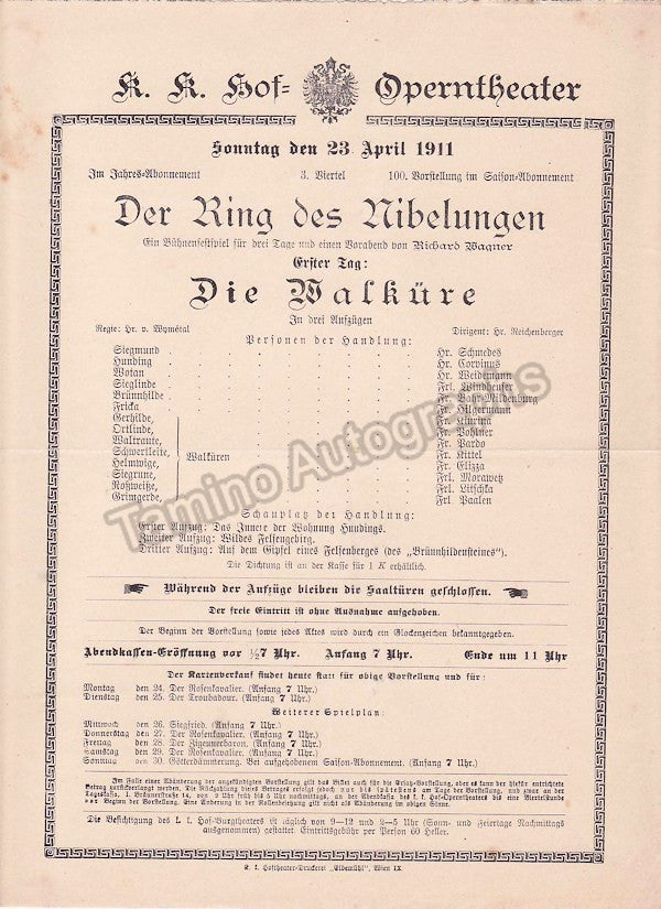 Imperial & Royal Court Opera, Vienna - Playbills 1910-1912 - Tamino Autographs  - 2