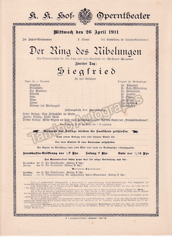 Imperial & Royal Court Opera, Vienna - Playbills 1910-1912 - Tamino Autographs  - 3
