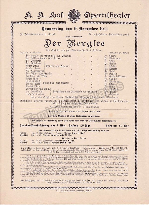 Imperial & Royal Court Opera, Vienna - 8 Playbill Lot 1910-1912