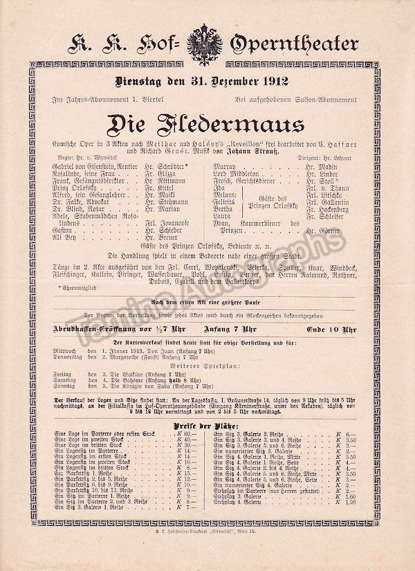 Imperial & Royal Court Opera, Vienna - Playbills 1910-1912 - Tamino Autographs  - 7