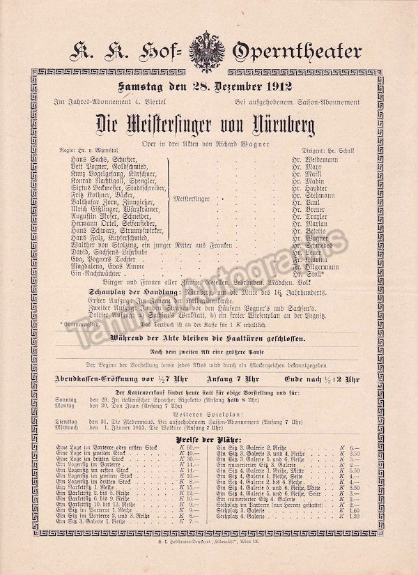 Imperial & Royal Court Opera, Vienna - Playbills 1910-1912 - Tamino Autographs  - 8
