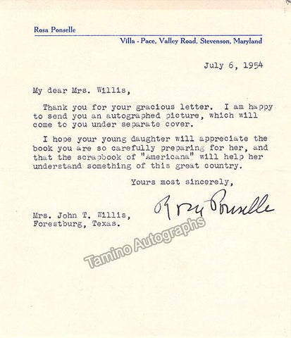 Ponselle, Rosa - Typed Note Signed 1954