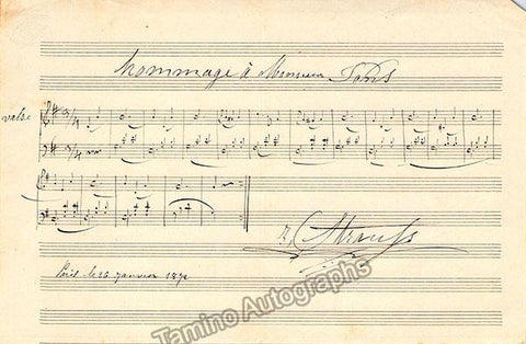 Strauss, Isaac - Autograph Music Quote Signed 1872