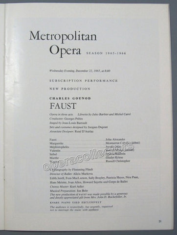 Caballe, Montserrat - Milnes, Sherrill - Their Met Debut Program, 1965 - Tamino Autographs