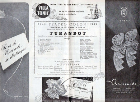 Callas at Teatro Colon Program, 1949 - Turandot - TaminoAutographs.com