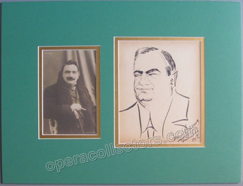 Caruso, Enrico - Signed Caricature of himself with Photo - TaminoAutographs.com