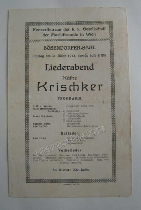 Concert Playbills Vienna 1894-1914 - Lot of 5 - Tamino Autographs  - 2