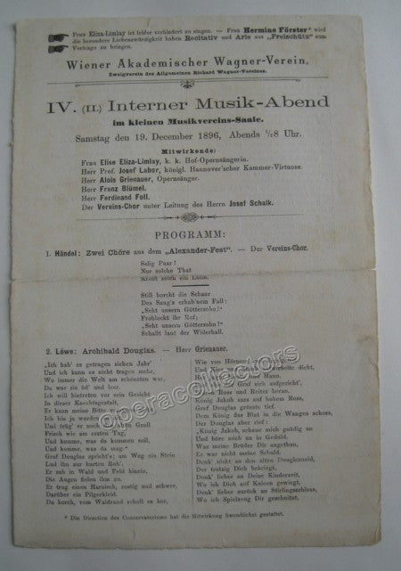 Concert Playbills Vienna 1894-1914 - Lot of 5 - Tamino Autographs  - 3