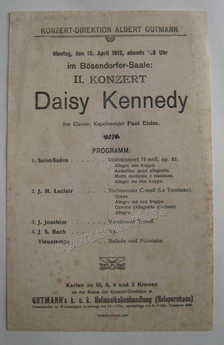 Concert Playbills Vienna 1894-1914 - Lot of 5 - TaminoAutographs.com