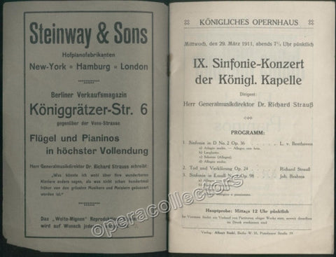 Concert program Konigliches Opernhaus, Berlin - Strauss Conducting 1911 - Tamino Autographs