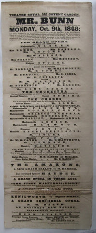 Covent Garden - 1848 Playbill announcing Winter Season Opening