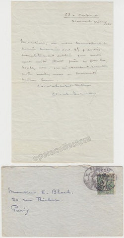 Debussy, Claude - Autograph Letter Signed with Envelope - To Ernest Bloch - TaminoAutographs.com