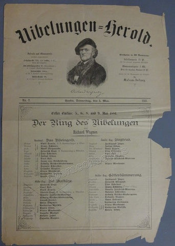Der Ring des Nibelungen - Berlin Playbill 1881 with Materna, Seidl, Jager, etc