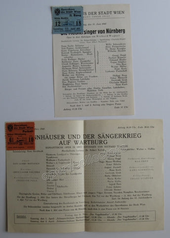 Die Meistersinger - Tannhauser - Set of 2 programs Vienna City Opera - TaminoAutographs.com