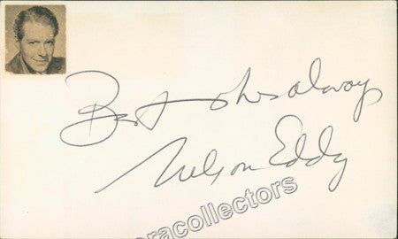 Eddy, Nelson - Signed card - Tamino Autographs