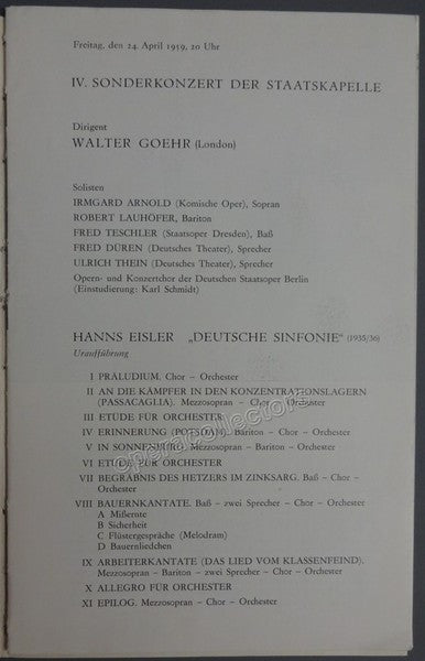 Eisler, Hanns - Goehr, Walter - World Premiere Program Deutsche Sinfonie by Eisler Program 1959
