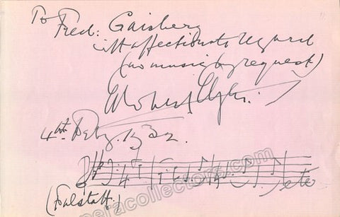 Elgar, Edward - Autograph Music Quote Signed 1932