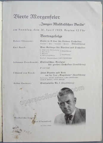 Elmendorff, Karl - 1939 Program conducting 3 world premieres!