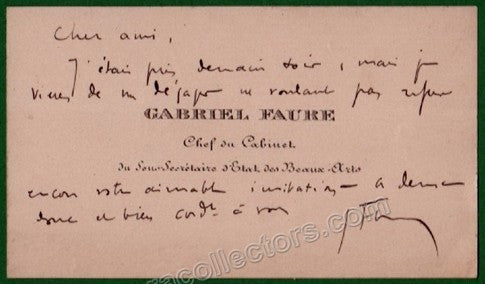 Faure, Gabriel - Handwritten and Signed Personal Card - Tamino Autographs  - 2