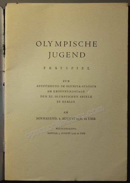 Final Event Opening Olympic Games 1936 Program - Carl Orff - Tamino Autographs  - 2