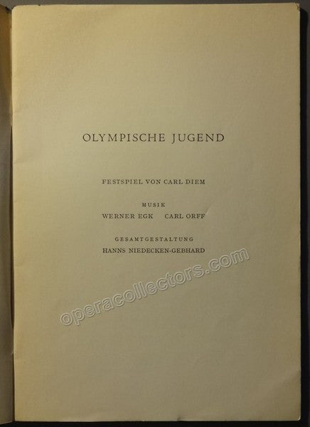Final Event Opening Olympic Games 1936 Program - Carl Orff