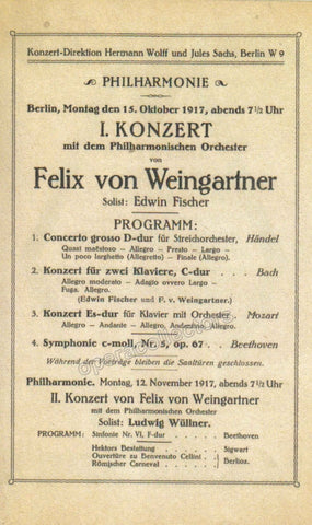 Fischer, Edwin - Concert Program 1917