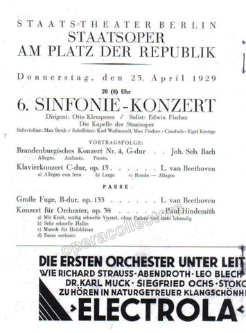 Fischer, Edwin - Concert Program 1929 - TaminoAutographs.com
