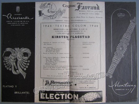 Flagstad, Kirsten - Concert Program T. Colon Argentina 1948 - Tamino Autographs