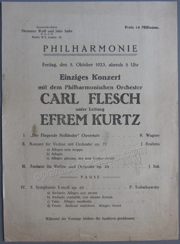 Flesch, Carl - Concert program Berlin 1923 - Tamino Autographs