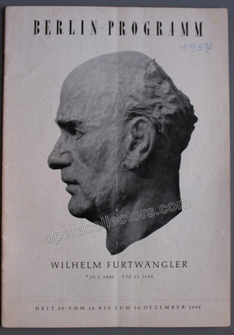 Furtwangler, Wilhelm - Berlin Concerts in Memoriam Dec 1954 - TaminoAutographs.com
