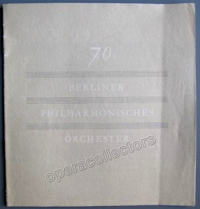 Furtwangler, Wilhelm - Official brochure for the 70th Anniv. of the Berlin Philharmonic Orchestra - TaminoAutographs.com
