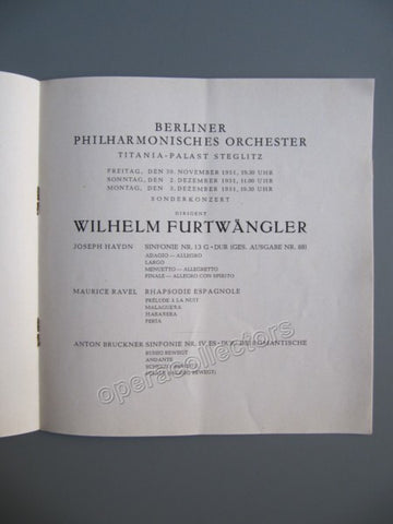 Furtwangler, Wilhelm - Program 1951 - TaminoAutographs.com