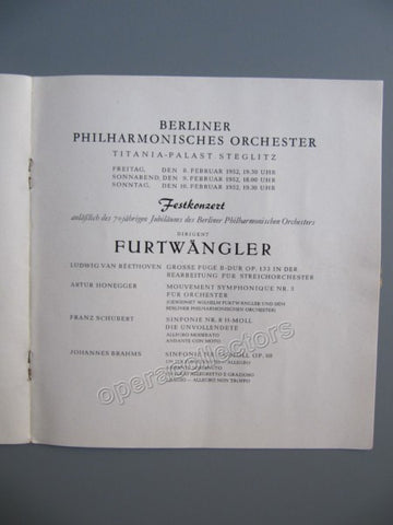Furtwangler, Wilhelm - Program 1952 - TaminoAutographs.com