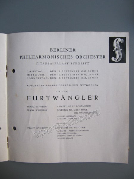 Furtwangler, Wilhelm - Program 1953 | Tamino Autographs