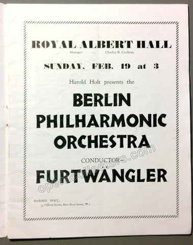 Furtwangler, Wilhelm - Royal Albert Hall Concert Program 1933 - TaminoAutographs.com