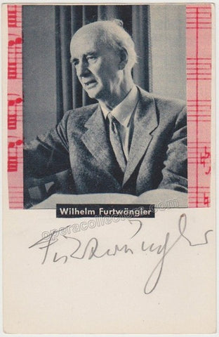 Furtwangler, Wilhelm - Signed Card with Photo - Tamino Autographs